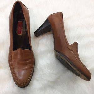 Cole Haan Brown Leather Loafer Heels Size 10
